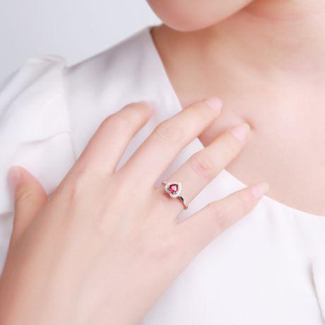 Anello in oro bianco - Rubino taglio cuore e diamanti