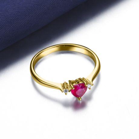 Anello con rubino taglio cuore - Diamanti, oro giallo 18k