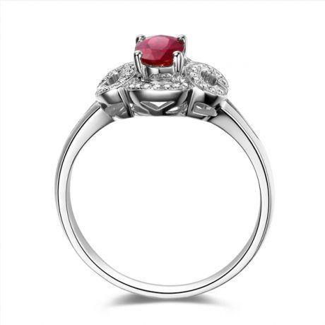Anello da fidanzamento in rubino, diamanti e oro bianco. Motivo cerchiato