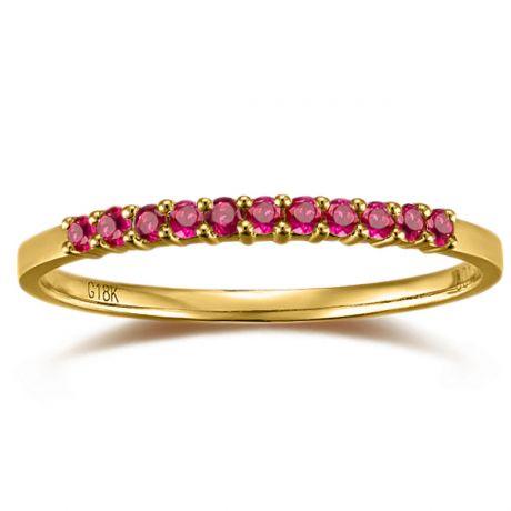 Anello Oro Giallo 18 carati - Facetta Rubini Birmani
