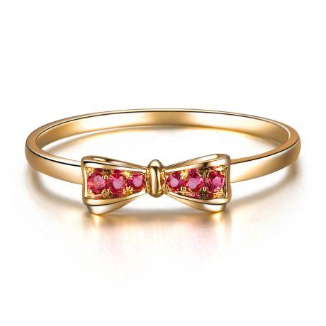 Anello fiocco - Oro giallo e rubini