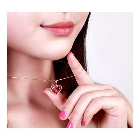Ciondolo doppio cuore - Oro rosa e rubini birmani