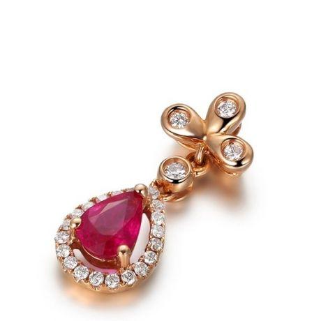 Ciondolo croce latina - Oro rosa, diamanti e rubini