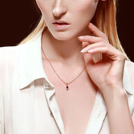 Ciondolo Madama in oro rosa 18 carati - Rubino ovale e brillanti