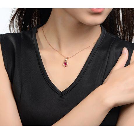 Ciondolo con rubino da 1 carato - Diamanti taglio brillante