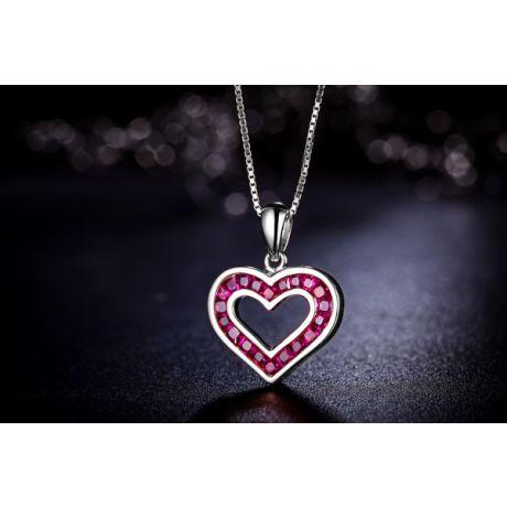 Ciondolo doppio cuore - Oro bianco e rubini