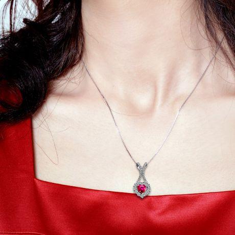 Ciondolo Rubacuori - Oro bianco, Rubini e Diamanti