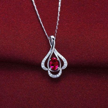 Ciondolo solitario in oro bianco - Rubino ovale e diamanti