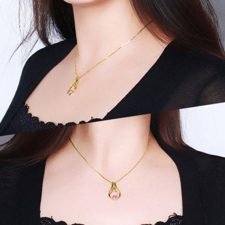 Ciondolo ali d'angelo - Oro giallo e rubini