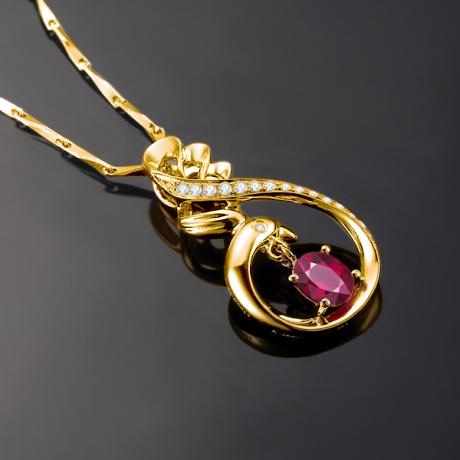 Ciondolo cigno - Oro giallo diamantato e rubino