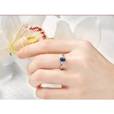 Solitario in oro bianco 18ct - Diamanti e zaffiri incastonati