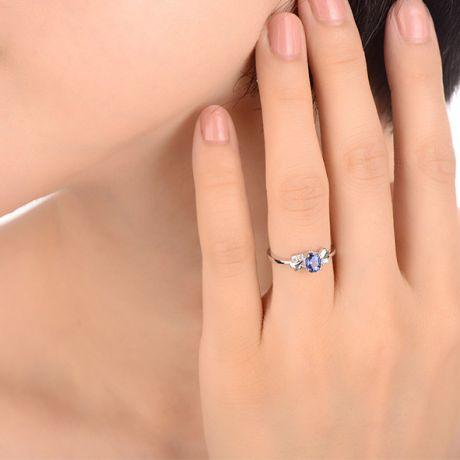 Anello zaffiro solitario - Oro bianco 18 carati - Diamanti incastonati