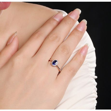 Solitario con Zaffiro e Diamanti - Oro bianco 18 carati - Astro