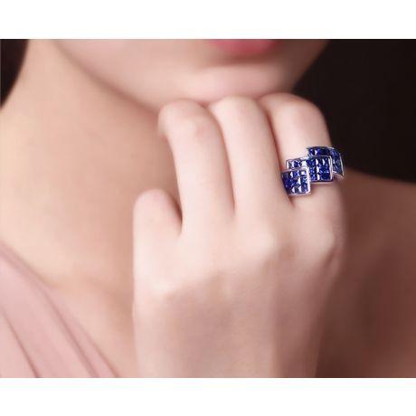 Anello Zaffiri blu - Incastonatura binari - Oro bianco 18 carati - Principessa