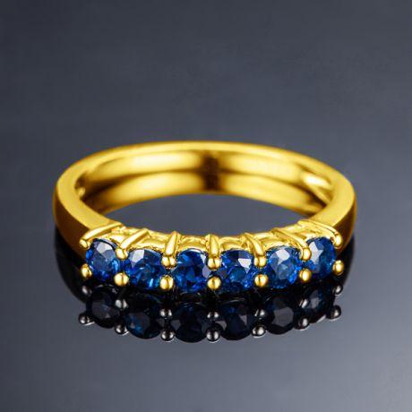 Anello Zaffiri blu - Incastonatura griffe - Oro giallo 18 carati