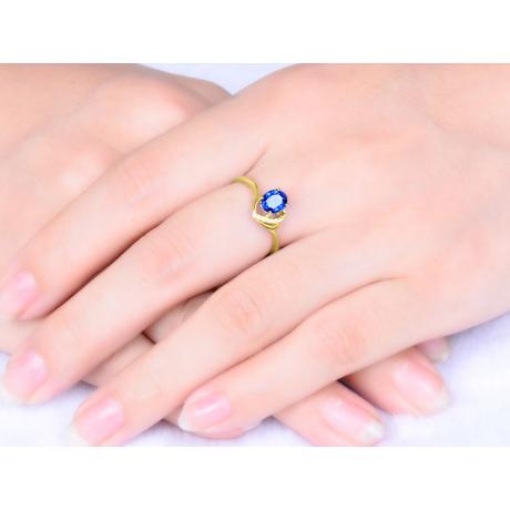 Anello Solitario - Zaffiro e Diamanti - Oro giallo 18 carati