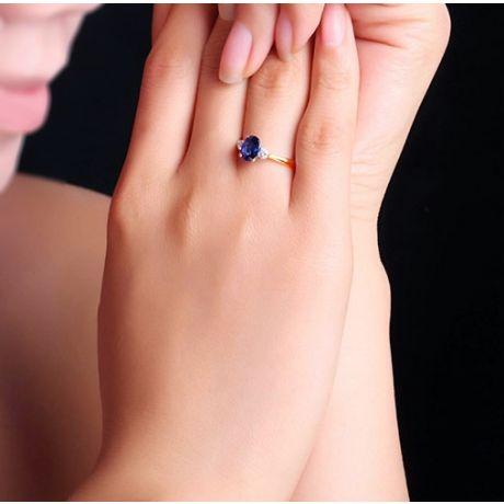 Solitario Civetta oro bianco - Due Diamanti e zaffiro incastonati