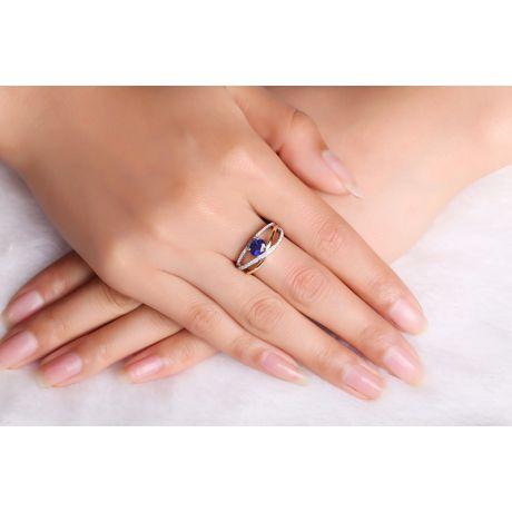 Anello Solitario - Zaffiro e Diamanti - Oro bianco 18 carati