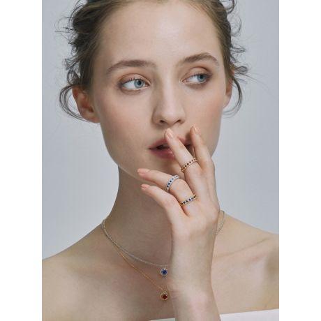 Anello zaffiri - Tempietto - Oro giallo, diamanti e zaffiri