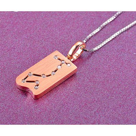 Ciondolo astrologico - Costellazione dello scorpione - Oro rosa, diamanti
