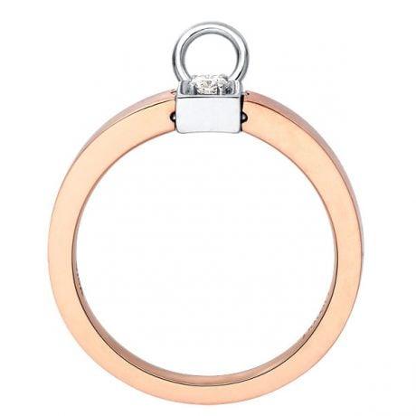 Solitario ciondolo - Oro bianco e rosa - Diamanti 0.050ct