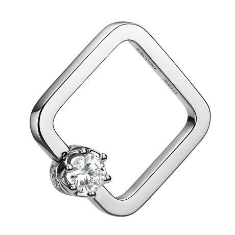 Anello ciondolo solitario quadrato - Oro bianco, diamanti 0.47ct