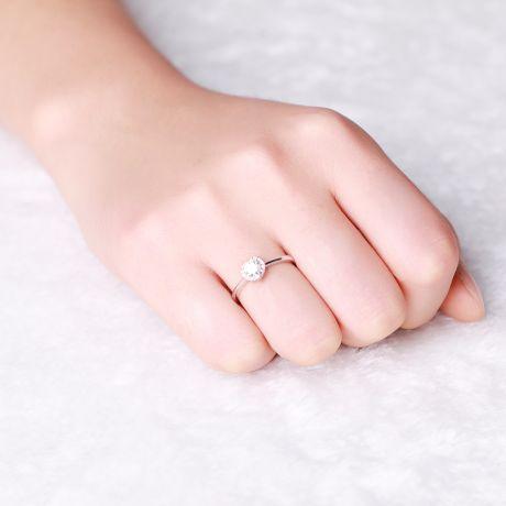Anello oro bianco - Solitario Cuore con pavé di diamanti