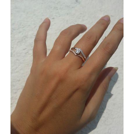 Anello donna - Oro bianco e rosa 18 carati - Diamanti incastonati - Fusione
