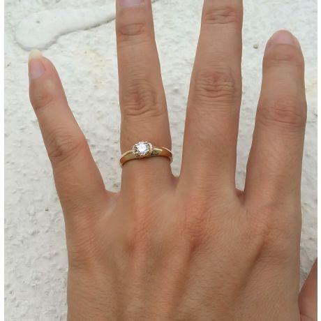 Anello solitario - Oro giallo 2.30gr - Diamanti 0.385ct