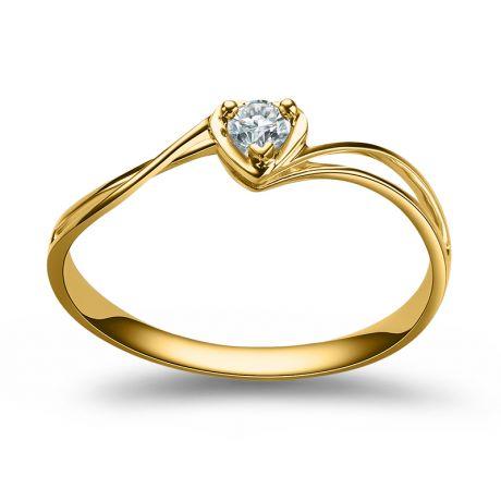 Anello Cuore Solitario - Oro giallo e diamante