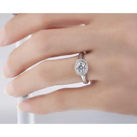 Anello solitario grazioso - Spirale diamantata