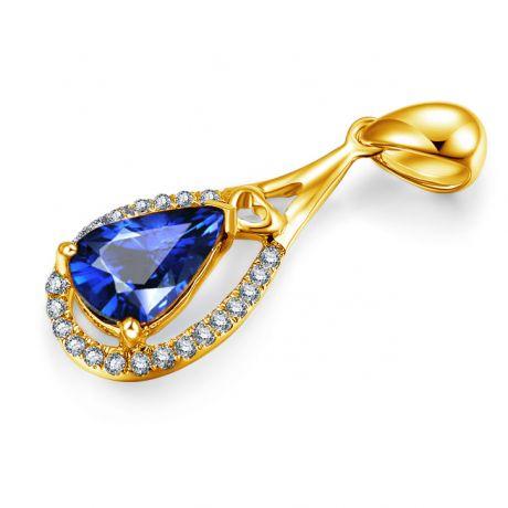 Ciondolo goccia Oro giallo 18ct - Zaffiro e Diamanti
