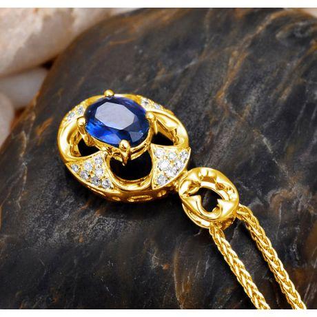 Ciondolo con Zaffiro Ovale e Diamanti - Oro giallo