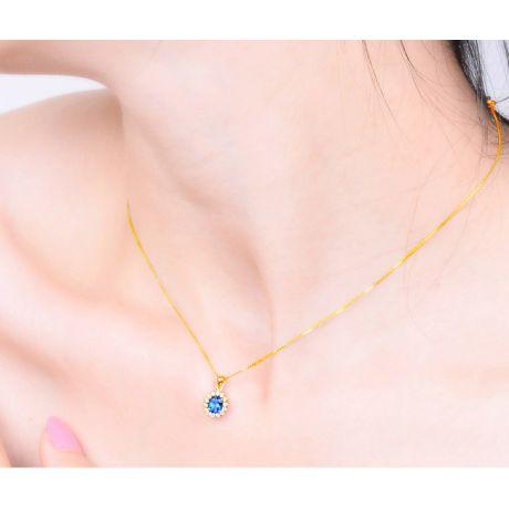 Corona diamantata in oro giallo 18 carati - Ciondolo con Zaffiro