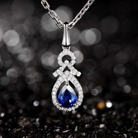 Ciondolo motivo Goccia in  Oro bianco - Zaffiro e Diamanti
