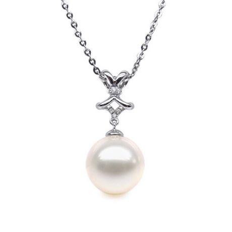Ciondolo fiocco classico - Oro bianco - Perla d'acqua dolce bianca