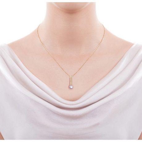 Ciondolo perla dal Giappone. Oro giallo, diamante - Hatsune Miku
