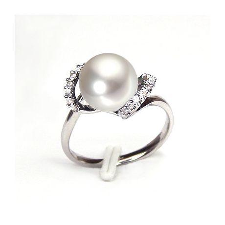 Anello oro bianco, diamanti - Perla acqua dolce bianca, crema - 9/10mm