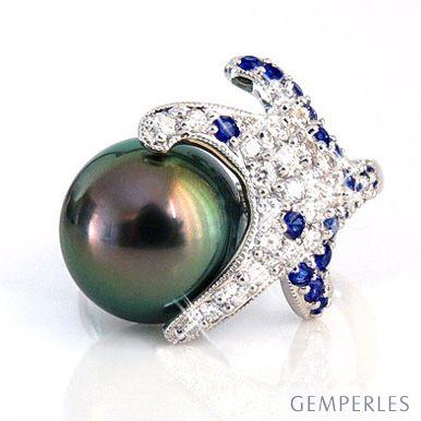 Anello stella oro bianco - Perla di Tahiti nera, pavone - 10.5/11mm