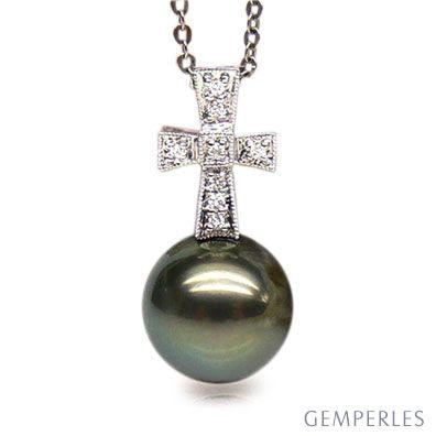 Ciondolo croce oro bianco - Perla di Tahiti nera, pavone - 10/11mm