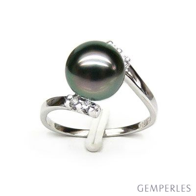 Anello oro bianco - Perla di Tahiti nera, verde, melanzana - 9/10mm