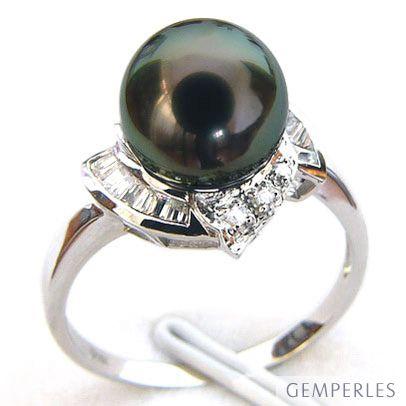 Anello oro bianco - Perla di Tahiti nera, verde, melanzana - 9.5/10mm - 2