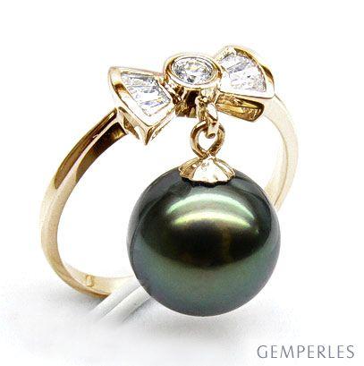 Anello fiocco oro giallo - Perla di Tahiti nera, verde - 9/10mm