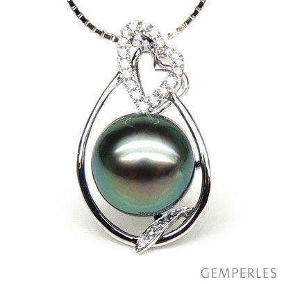 Ciondolo cuore oro bianco - Perla di Tahiti nera, pavone - 10/11mm