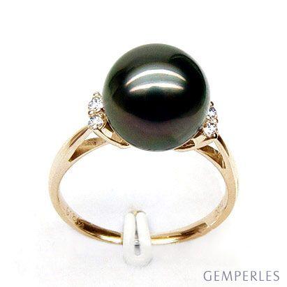 Anello oro giallo, diamanti - Perla di Tahiti nera - 10/11mm