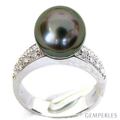 Anello oro bianco - Perla di Tahiti nera, pavone - 9.5/10mm - 2