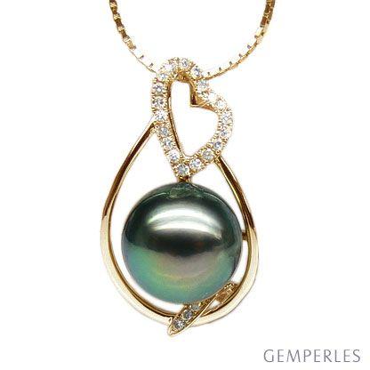 Ciondolo cuore oro giallo - Perla di Tahiti nera, pavone - 10/11mm