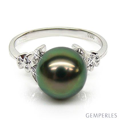 Anello foglie oro bianco - Perla di Tahiti nera, verde, melanzana - 9/9.5mm