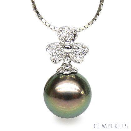 Ciondolo trifoglio oro bianco - Perla di Tahiti nera, pavone - 10/11mm