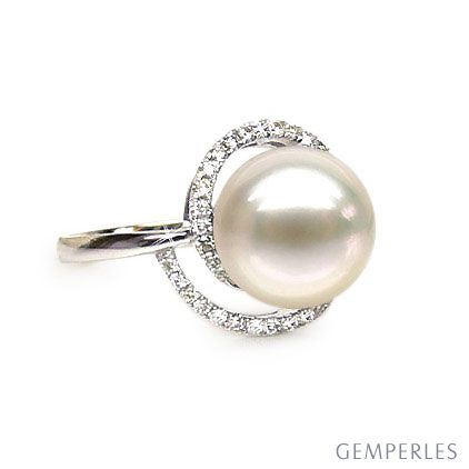 Anello spirale oro bianco - Perla acqua dolce bianca - 9/10mm